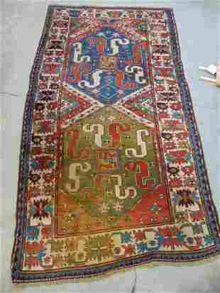 """Caucasian carpet, 2 diamonds, rug is 8' by 4'4"""" one"""