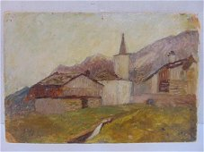 Painting, church in mountains, Alfred Sisley, October
