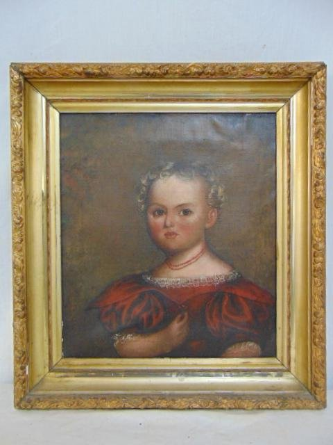 Painting, folk art portrait, American early 19th
