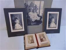 Early photo album tin type portraits  3 vintage