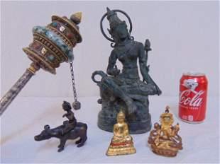 5 piece Tibetan lot, Buddha bronzes, prayer wheel made