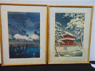 2 Japanese woodblock prints, stone bridge with blossom