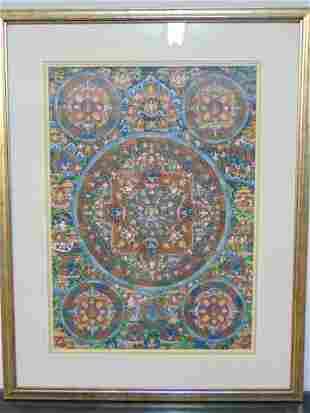 Tibet Thangka, hand painted, gilt highlights, great