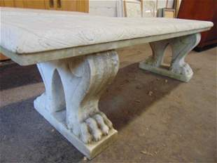 Pair antique carved marble garden benches, solid