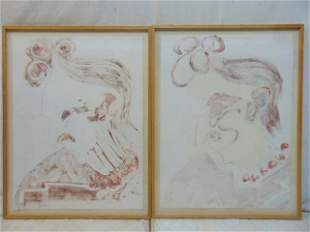 2 monoprints Polly Doyle Edith Sitwell two