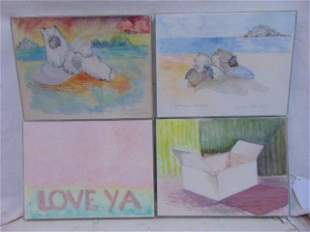 4 watercolor paintings Polly Doyle Love Ya Box