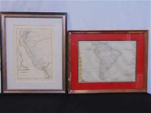 2 antique maps South America Peru includes An