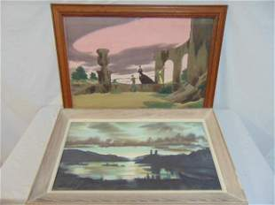 2 paintings Woodi Ishmael AW watercolor on
