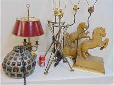 Lighting lot, carved figural horse lamps, French brass