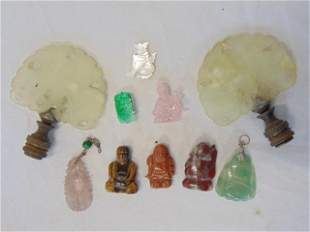 Asian jade, carved hard-stone lot, Buddha, finials