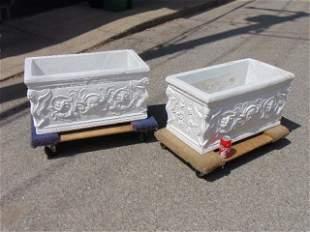 Pair cement Greek revival style planters