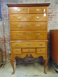 Kentucky cherry & pine chest on chest, period chest on