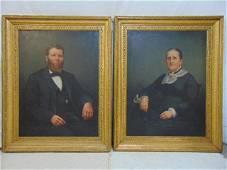 Pair of Kentucky American School, ancestral portraits,