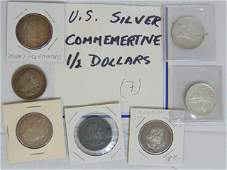 Coins. U.S. Silver Commemorative 1/2 dollars (7) total