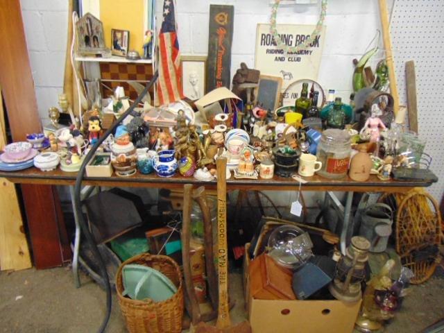 Large table lot vintage porcelain & glass, various