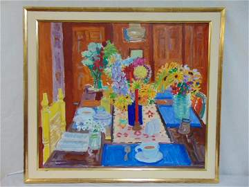 "Painting, Nell Blaine, :Red Candle & Four Bouquets"","