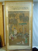 Large framed Chinese scroll, older man and children
