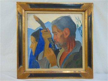 "Painting, ""Player"", Joseph Stella, oil on canvas,"