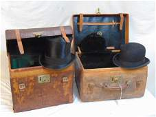 2 leather hat boxes with hats Brooks Brothers leather