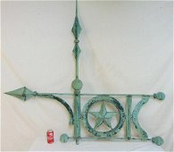 Rare banner weathervane in copper, green patina, with