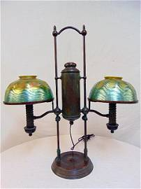 Manhattan student lamp with Tiffany shades, double arm