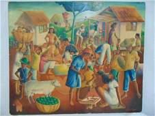 Painting, Haitian market scene, Wilson Bigaud, 1956,