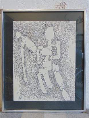 Drawing, Louise Abrams, Outsider Art Collection, ink on