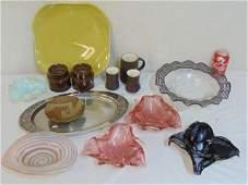 Lot MCM ceramics & mixed metal plus Italian art glass,