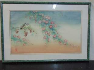 Asian watercolor on silk birds blossoms signed