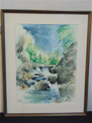 Painting waterfall Charles De Carlo watercolor on