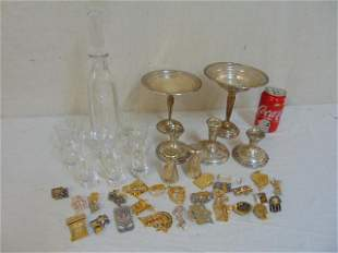 Lot of sterling Judaica pins decanter set To