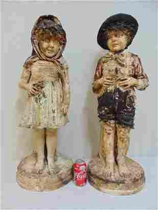 Pair large terra cotta figures boy girl paint