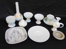 Rosenthal lot, Bjorn Wiinblad dishes, jar with lid &