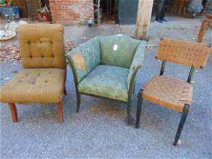 3 chairs MCM design tufted back vintage woven back