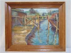 Painting, bridge, Alice Harold Murphy, oil on canvas