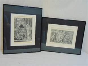 Pair engravings Reginald Marsh figures on horseback