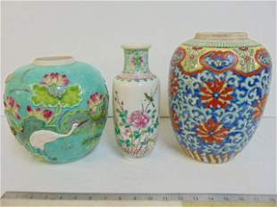 Chinese vases, Asian porcelain, includes a vase