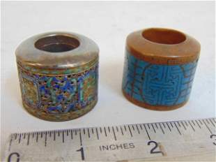 2 Chinese archer rings, cloisonne, one ring in copper