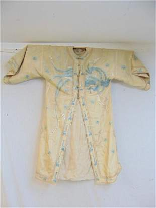 Silk Chinese robe, embroidered with bird, label,