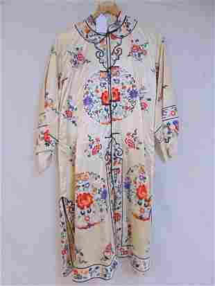 Silk Chinese jacket & pants, embroidered with floral