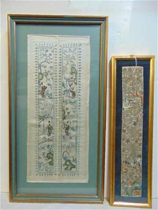 2 Asian embroidered panels, framed, one with figures