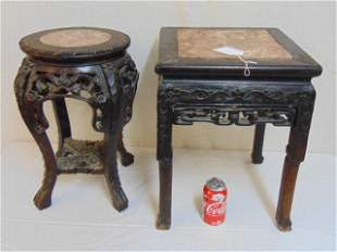Two carved Chinese marble top plant stands, round &