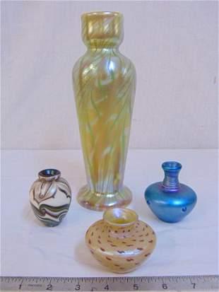 (4) pieces signed Art Glass Lundberg studio, (1) 1975,