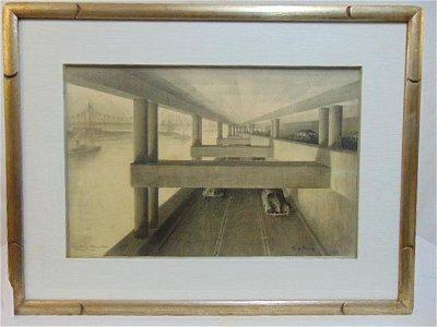 Charcoal drawing, Hugh Ferriss, New York City rendering
