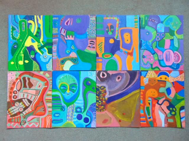 8 paintings, Louise Abrams, Outsider Art Collection,