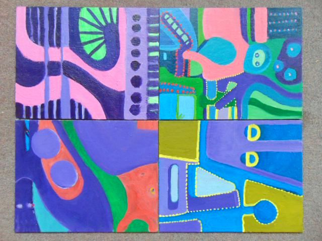 4 paintings, Louise Abrams, Outsider Art Collection,