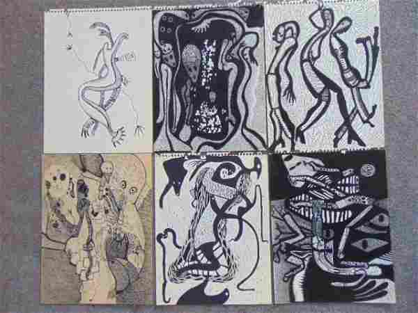 6 ink drawings, Louise Abrams, Outsider Art Collection,