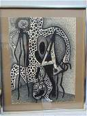 Ink drawing, Louise Abrams, Outsider Art Collection,