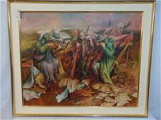 """Painting, Samuel Bak, Surrealist oil on linen, """" Sounds"""
