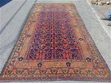 Persian carpet, red & blue, with border, rug is 6'10""